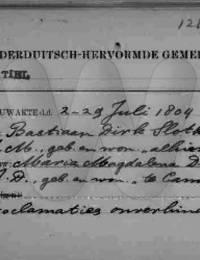 huwelijksregistratie Slothouwer, Bastiaan Dirk en Maria Magdalena Diehl 29-7-1804