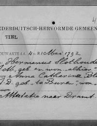 huwelijksregistratie Slothouwer, Hermanus en Anna Catharina Blomvliet 21-5-1792